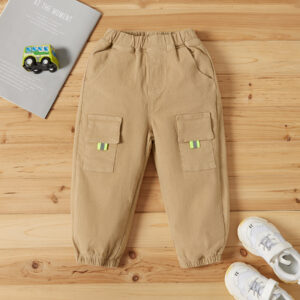 Toddler Boy Solid Striped Pocket Casual Pants