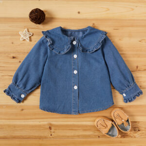 Baby / Toddler Girl Doll Collar Ruffled Denim Jacket