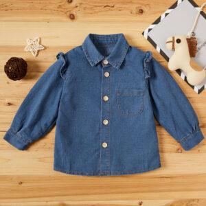 Baby / Toddler Girl Denim Ruffled Long-sleeve Jacket