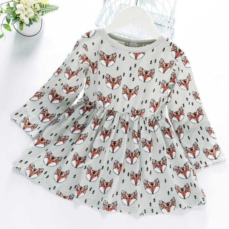 Baby / Toddler Girl Animal Fox Print Long-sleeve Dress