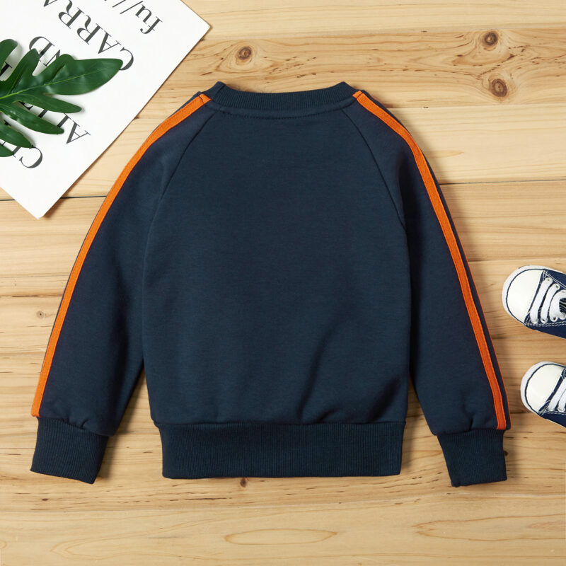 Baby / Toddler Boy Striped Letter Print Fluff Pullover