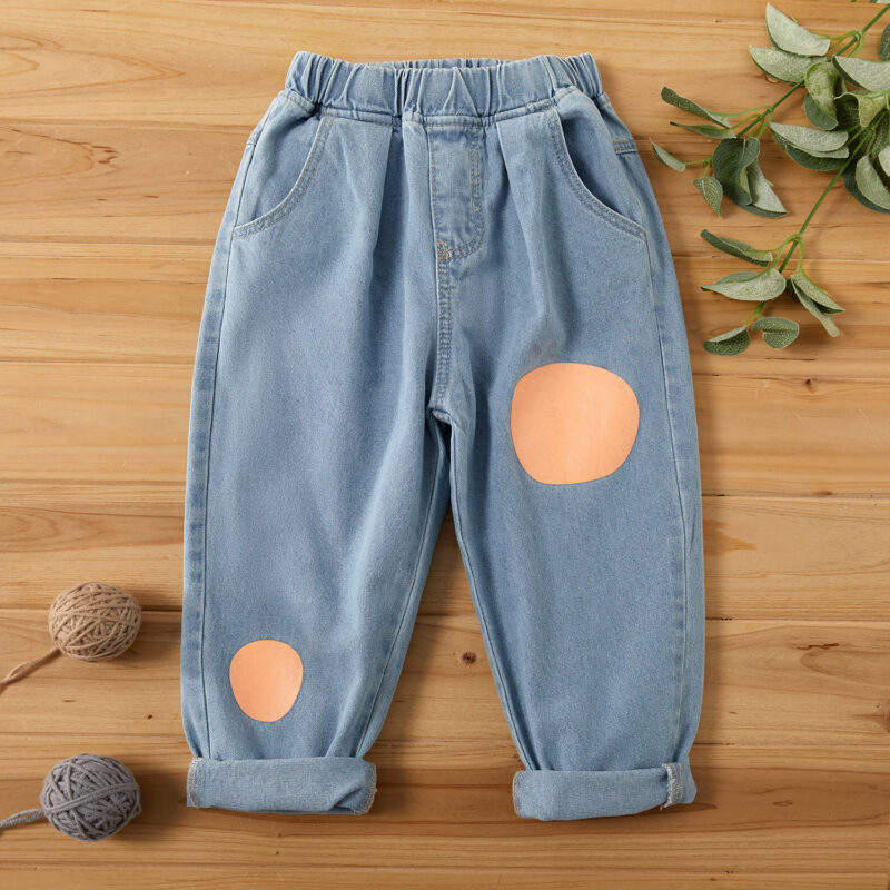 Toddler Polka dots Colorblock Jeans