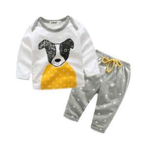 2-piece Casual Puppy Long Sleeve Top and Pants Set for Baby Boys