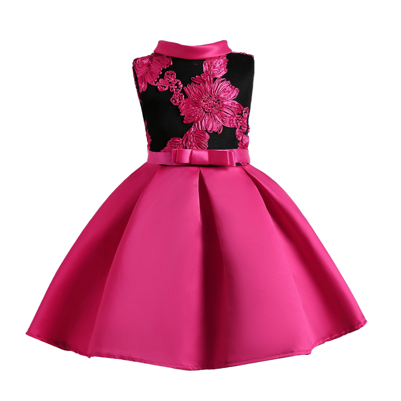 Girl's Elegant Flower Embroidered Sleeveless Pleated Party in Hot Pink
