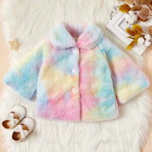 Baby / Toddler Girl Tie-dye Colorful Fluff Doll Collar Coat