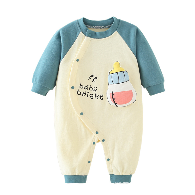 Infant Baby Cotton Long Sleeve Jumpsuit Pacifier Style