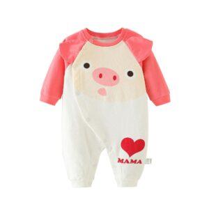 Autumn Infant Baby Cotton Long Sleeve Jumpsuit Pig Style