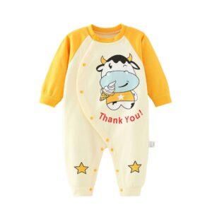 Autumn Infant Baby Cotton Long Sleeve Jumpsuit Cow Style