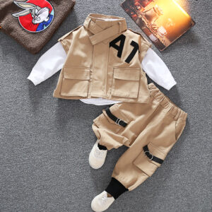 Autumn Kid Long Sleeve Top Pant 2 PCS Simple Style