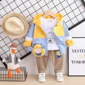 Autumn Kid Boy Long Sleeve Top Pant 3 PCS Bear