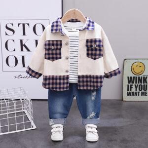 Autumn Kid Boy Long Sleeve Top Pant 3 PCS Square Style