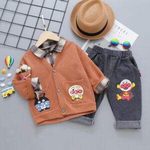 Autumn Kid Boy Long Sleeve Top Pant 3 PCS Anpanman
