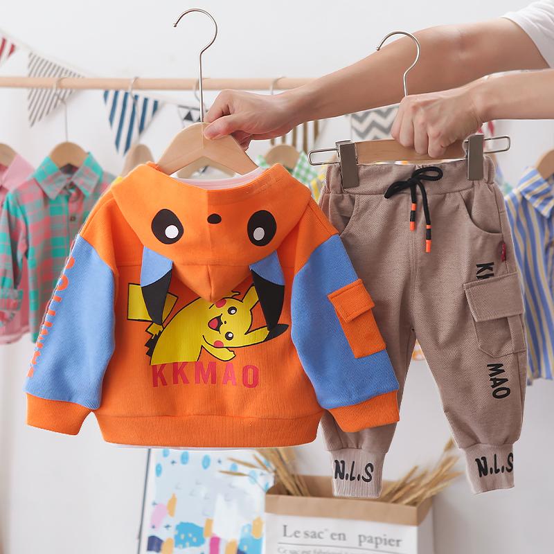 Autumn Kid Boy Long Sleeve Top Pant 3 PCS Bikachu