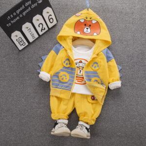 Autumn Kid Boy Long Sleeve Top Pant 3 PCS 2020 Bear