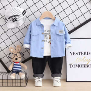 Autumn Kid Boy Long Sleeve Top Pant 3 PCS Pattern Style