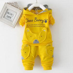 Autumn Kid Long Sleeve Hoodie Pant 2 PCS Bear Style