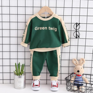 Autumn Kid Long Sleeve Top Pant 2 PCS Green Twig