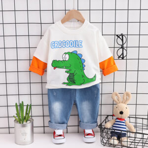 Autumn Kid Long Sleeve Top Pant 2 PCS Crocodile
