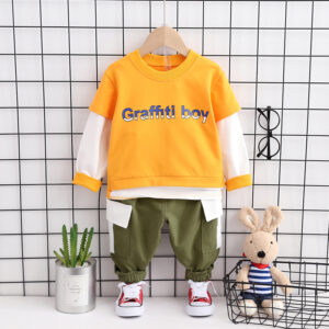 Autumn Kid Long Sleeve Top Pant 2 PCS Graffti Boy