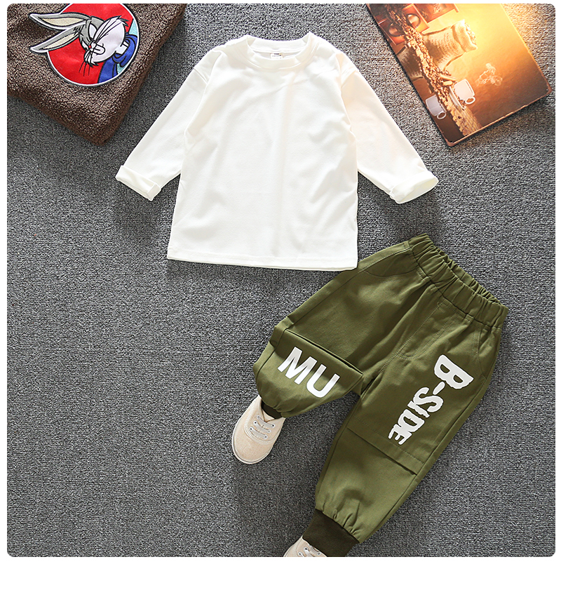 Autumn Kid Long Sleeve Hoodie Pant 2 PCS Simple Style