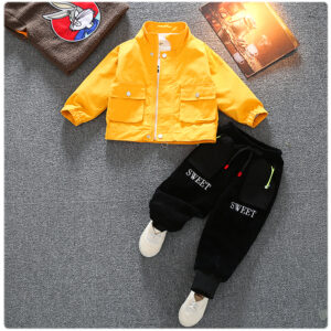 Autumn Kid Long Sleeve Hoodie Pant 2 PCS HipHop Style