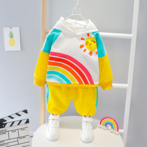 Autumn Kid Long Sleeve Hoodie Pant 2 PCS Rainbow Style