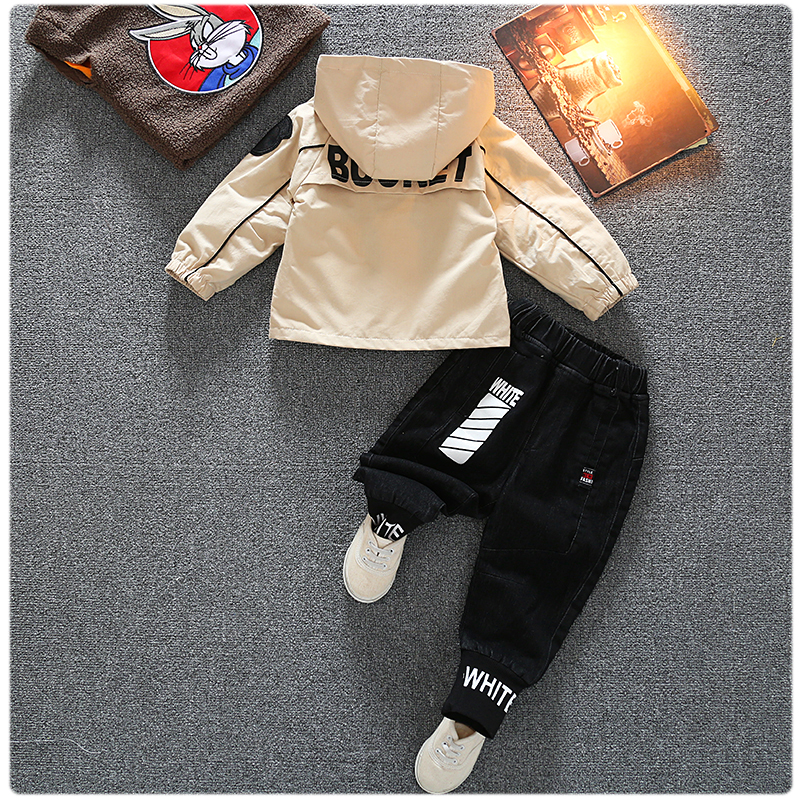 Autumn Kid Long Sleeve Hoodie Pant 2 PCS Letter Style