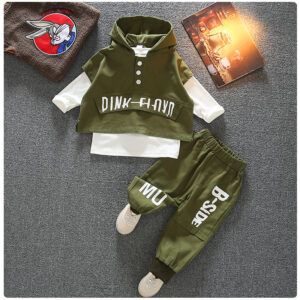 Autumn Kid Long Sleeve Hoodie Pant 2 PCS Simple Style