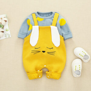 Autumn Baby Boy Gril Long Sleeve Bodysuit 2Pcs Rabbit Style