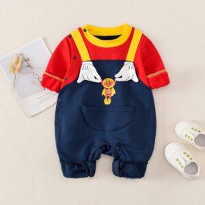 Autumn Baby Boy Gril Long Sleeve Bodysuit 2Pcs Anpanman Style
