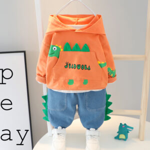 Autumn Kid Boy Long Sleeve Suit 2 PCS Dinosaur Style