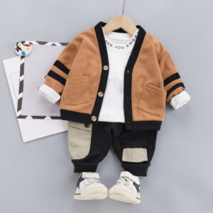 Autumn Kid Boy Long Sleeve Top Pant 3 PCS Concise Style
