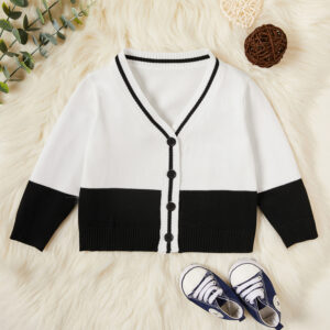 Baby / Toddler Colorblock Striped Knitted Cardigan