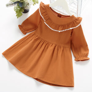 Baby / Toddler Girl Solid Ruffled Long-sleeve Dress