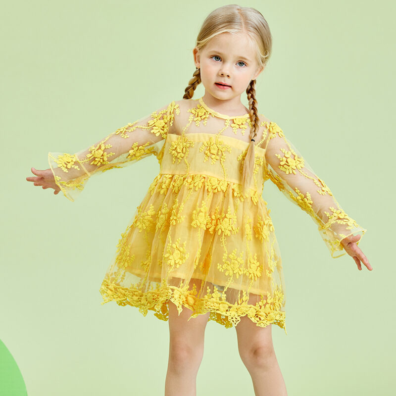 Baby / Toddler Girl Floral Print Grenadine Lace Flare-sleeve Dress