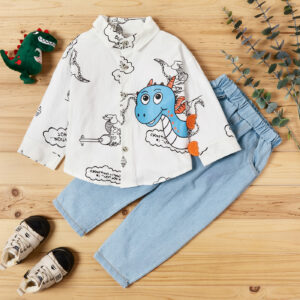 2-piece Baby / Toddler Boy Animal Dinosaur Letter Print Shirt and Solid Jeans Set