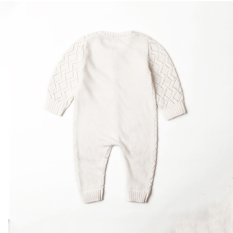 Comfy Solid Hollow Out Long-sleeve Jumpsuit Knit Jumpsuit for Baby
