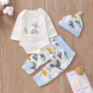 3-piece Cute Elephant Print Bodysuit, Animal Patterned Pants and Hat Set