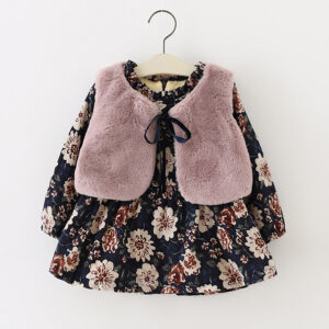 2 Pcs Plush Lined Floral Dress and Faux Fur Vest Set