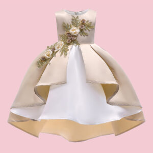 Elegant 3D Flower Decor Irregular Color Blocked Hemline Design Party Dress