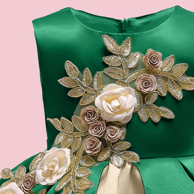 Elegant 3D Flower Decor Irregular Color Blocked Hemline Design Party Dress