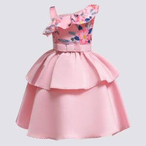 Toddler Girl's Floral Print Off Shoulder Party Dress