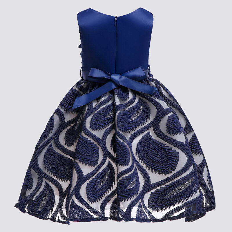 Toddler Girl's Feather Embroidered Ruffled Sleeveless Party Dress