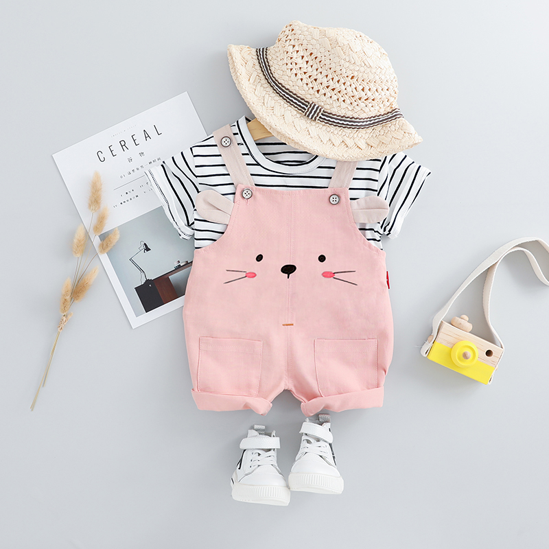 Baby / Toddler Girl Striped Tee and Cartoon Animal Print Overalls
