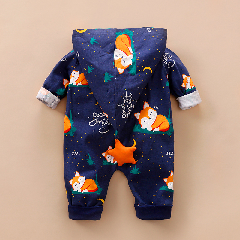 Stylish Fox Design Long-sleeve Hooded Jumpsuit for Baby