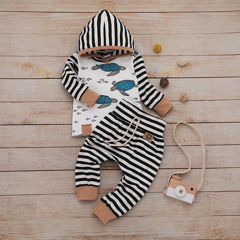 Baby Boy Turtle Print Striped Hoodie and Pants Set