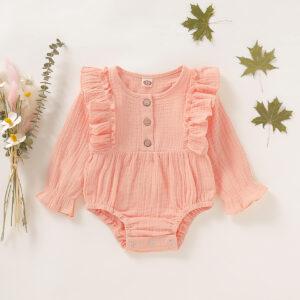 Baby Solid Ruffled Design Cardigan Design Long-sleeve Romper