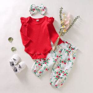 3-piece Baby Girl Solid Ruffled Shoulder Bodysuit and Floral Pants with Headband Set