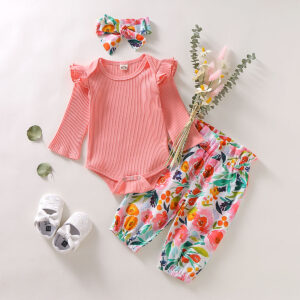 3-piece Baby Girl Pink Ruffled Long-sleeve Bodysuit and Floral Pants with Headband Set