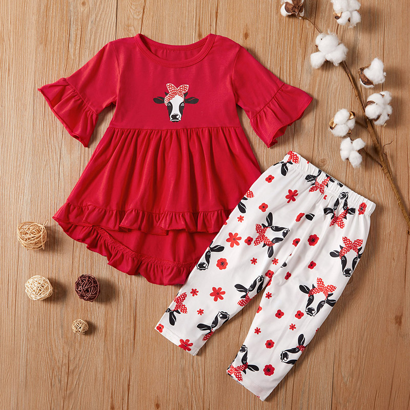 Baby / Toddler Cow Print Bell Sleeves Top and Pants Set